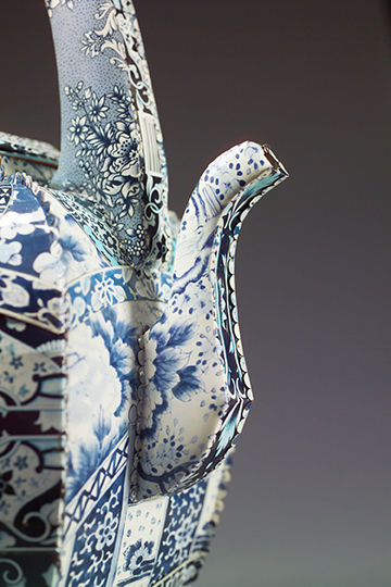Boston Chinese Tea Teapot by Harriete Estel Berman from recycled tin Cans.OUTdetail