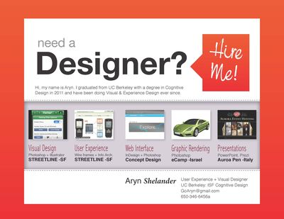 Tech Shop Hire a Designer sign-Aryn Shelander