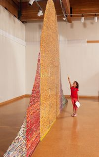 Pencil installation about the impact of standardized testing on education by Harriete Estel Bermana