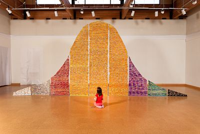 Pick UP YOur Pencils, Begin is an installation from 1000's of pencils about the impact of standardized testing on education