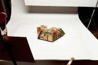 Photographic reflector on left creates shine on front.500