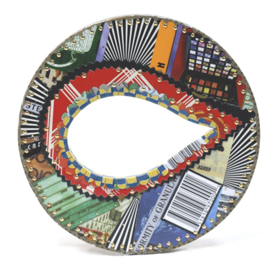 Identity Bracelet from post consumer recycled tin cans by Harriete Estel Berman