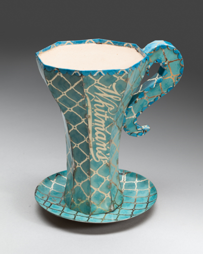 Whitman's Chocolate Cup constructed from recycled tin cans in light powder blue, and gold by Harriete Estel Berman