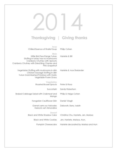 Menu CARDS for Thanksgiving 2014