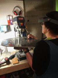 Harriete driling the Gemini Battlebot parts
