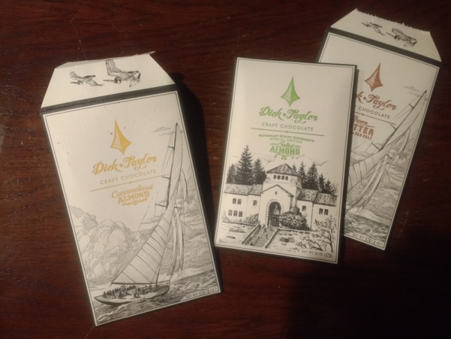 Dick-Taylor Craft Chocolate bars wrapped in hand printed packaging.