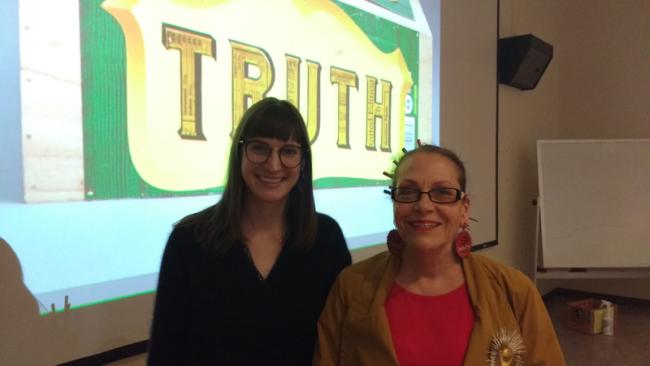 Emily Cobb and Harriete Estel Berman before lecture