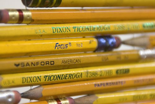 Focus pencils close-up image from installation Pick Up Your Pencils, Begin