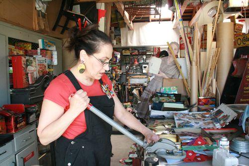 Harriete opening tins.